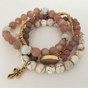 Multi Brown Beaded Bracelet, Shades of Brown Strands