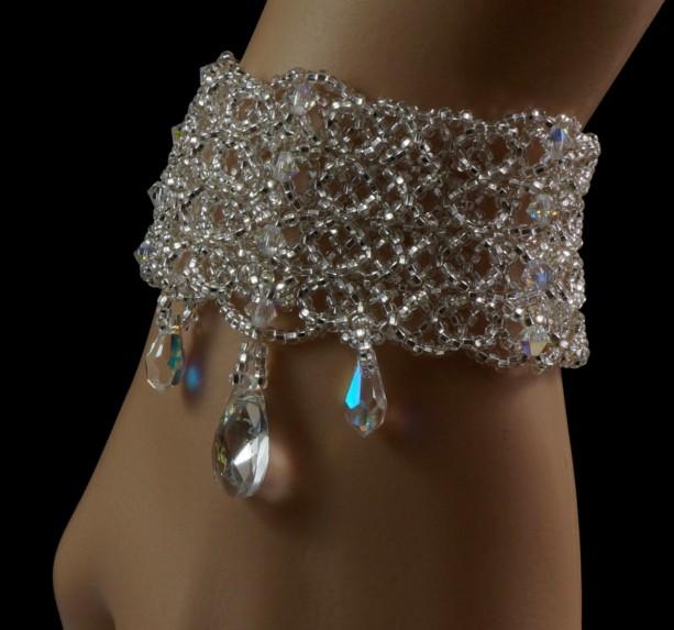 Swarovski crystal beaded bridal cuff bracelet  e4309292f5