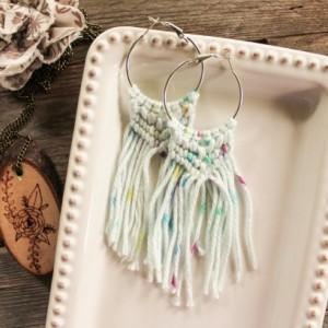 Summer Vibes Macrame Earrings - Boho Earrings - Cotton Earrings - Natural Earrings - Macrame Jewelry - MADE TO ORDER
