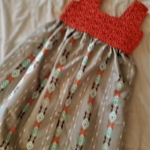 Exclusively Yours-Handmade Girl Dresses-Fits size 2T-3T, Hand Crocheted Designed Bodice Dress Summer Style only one available!