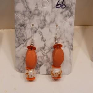 Multi shaped orange bead earrings