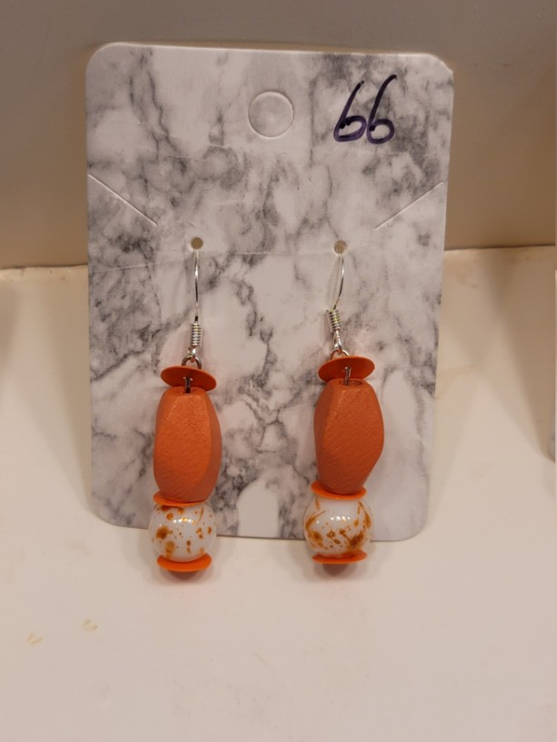 Multi shaped orange bead earrings