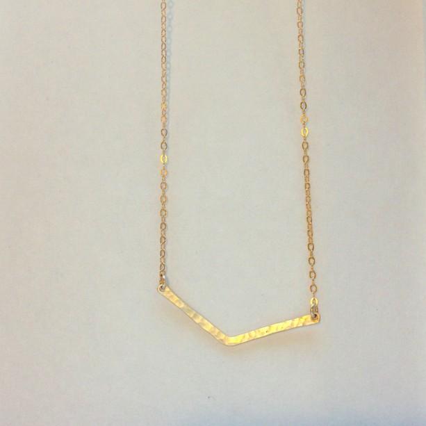 chevron gold necklace, tiny chevron gold necklace, 14k gold chevron, chevron layering necklace, gold chevron, hammered chevron necklace