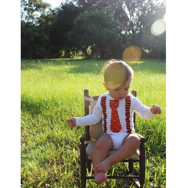 Halloween Tie Onesie and Suspenders Pumpkins