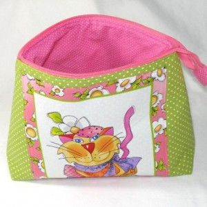"Loralie Designs Sage Green and Pink ""Happy Cat""  Cosmetic Bag, Bridesmaid Gift, Holiday Gift, Gift, Toiletry Bag, Pencil Case, Travel Bag"