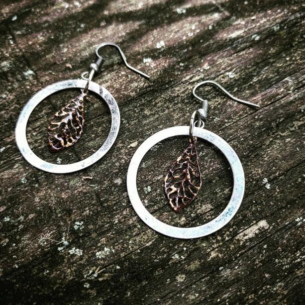 Steampunk Antiqued Handmade Ooak Filigree Lace Copper Leaves Earrings