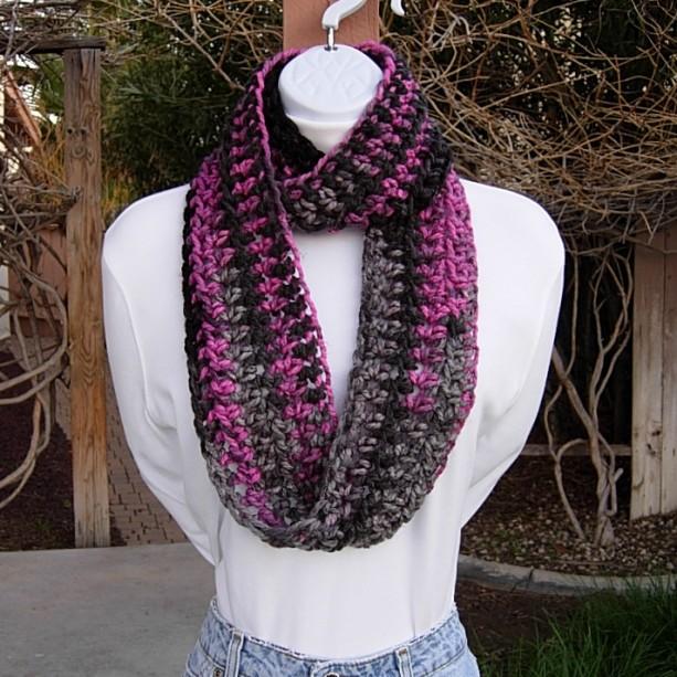 Small Pink Gray Black Short Skinny Crochet Knit Infinity Scarf