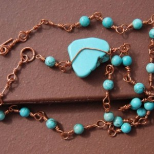 Copper Chain Necklace with Turquoise Beads