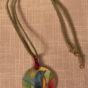 20 Inch Hand Sketched Wooden Pendant Necklace