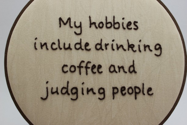 Modern Embroidery Hoop Art Caffiene Coffee Snarky Humor Aftcra