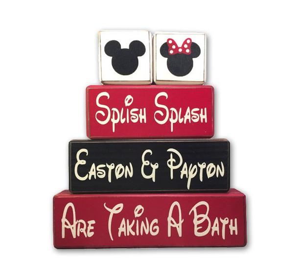 Mickey Minnie bath set custom name splish splash taking a bath Disney bath wood blocks distressed kids bathroom personalized unique