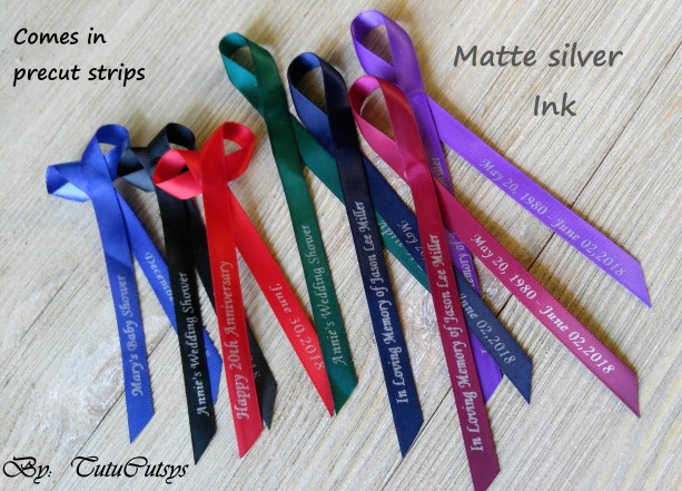 10 Personalized Ribbons with matte silver ink 3/8 inches wide(unassembled)