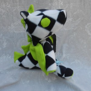 Large White and Black Diamond Print Dragon with Lime Green Accents