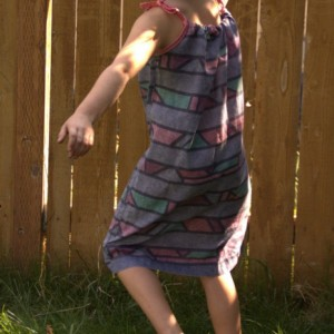 Upcycled pillowcase dress with butterfly