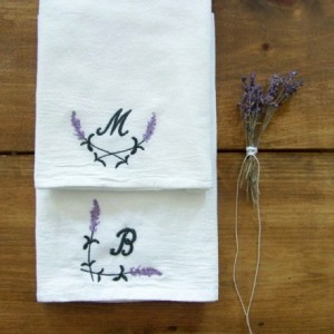 Lavender monogram Tea Towel - set of 2