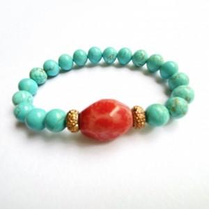 Turquoise & Coral Stone Bracelet