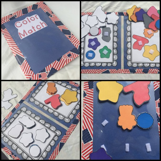 Fourth of July Color Match File Folder Game