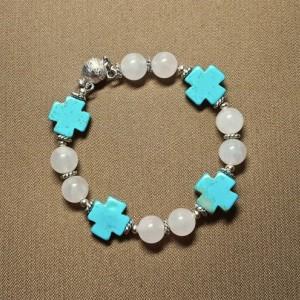 Turquoise Magnesite Cross and Pink Quartz Bead Bracelet