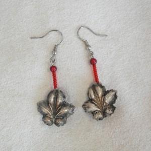 Vintage Maple Leaf Button Earrings with Steel Fishhook Earwires
