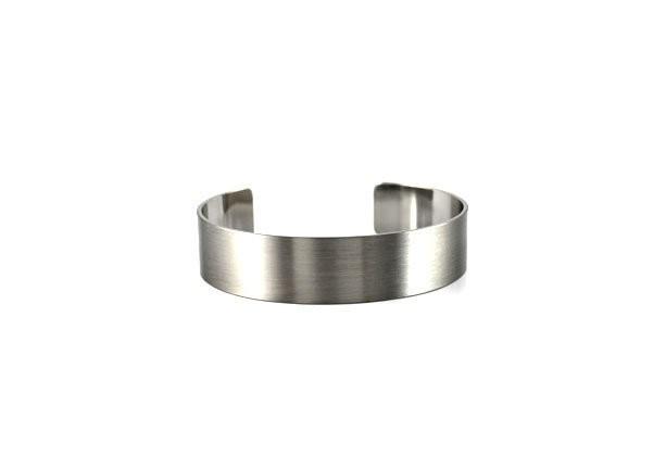 Brushed Silver Metal Open Cuff Bracelet