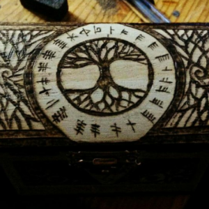 Tree of Life Ring with Celtic Ogham Runes Jewelry Stash Box