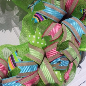 Flip Flop Wreath, Deco Mesh Wreath, Summer Wreath, Gift Wreath, Door Decor, Lime Green Wreath, Green Wreath, Mesh Wreath