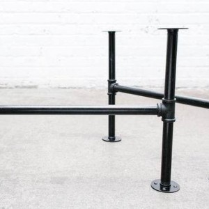 "Black Pipe Table Frame/Table Legs ""DIY"" Parts Kit, 2 End Frames 1"" Black Pipe X 22"" Wide X 38"" Tall"