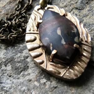 OOAK Bronze and Cherry Creek Jasper Pendant