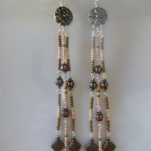 Long and Slender Metal-Toned Beaded Earrings