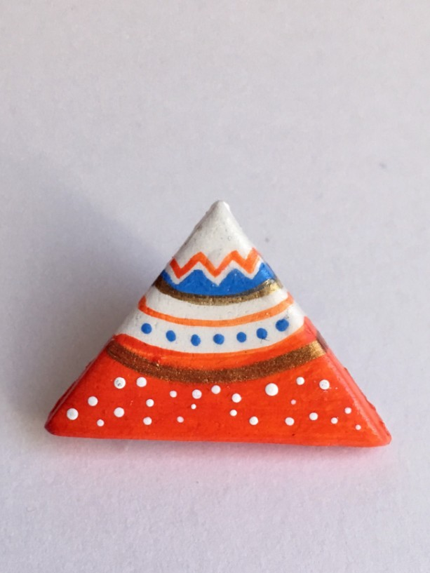 Handmade Brooch Mountain Orange Pin Clay Jewelry Artisan Accessory Tribal