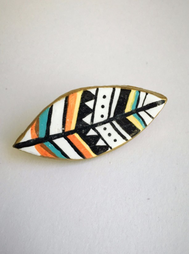Handmade Brooch Feather Pin Clay Artisan Jewelry Accessory Tribal Hippie