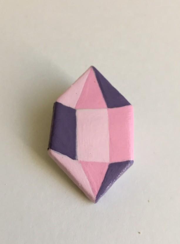 Handmade Brooch Gem Crystal Pin Clay Pink Artisan jewelry Accessory