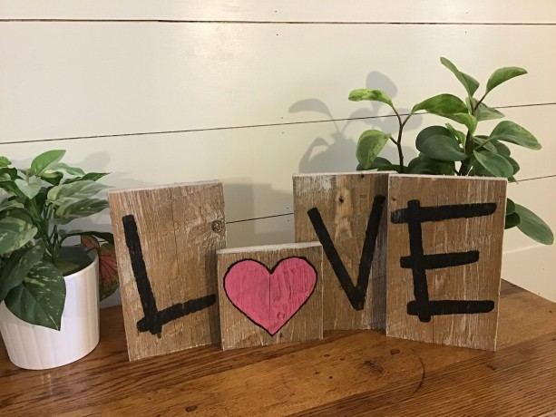 L O V E (heart) planks