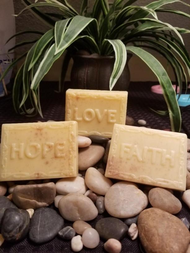 Set Of 3 Faith-Hope-Love *Oatmeal Shea Butter Soap*