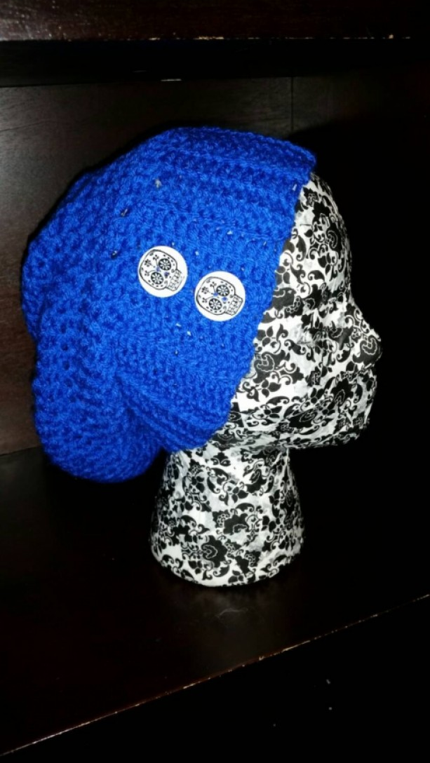 Skull Button Slouchy  Beanie