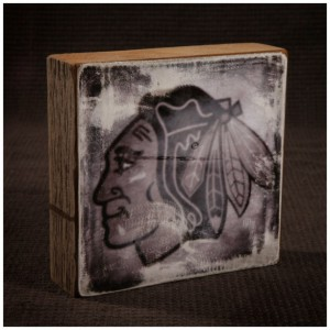 Chicago Blackhawks Distressed Logo Reclaimed Wood Block