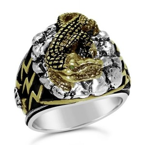 Egyptian Blue Nile Crocodile Mens ring Sterling Silver Emerald Lge.