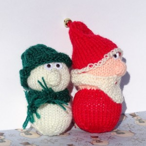 Hand Knit Santa Claus and Snowman, Santa and Snowman Doll, Christmas Decoration, Knitted Santa, Snowman Ornament, Ready to Ship, Knit Xmas