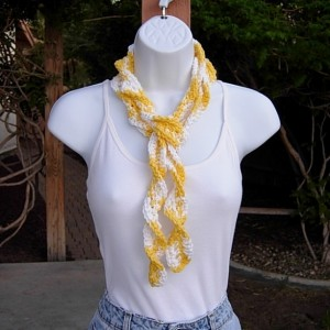 Yellow and White Skinny SUMMER SCARF Small 100% Cotton Spiral Twisted Crochet Knit Narrow Lightweight Curly Women's Scarf, Ready to Ship in 2 Days