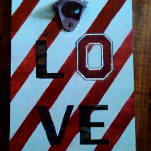 Ohio State Love Themed Open HereWall Mounted Bottle Opener in Scarlet and Grey