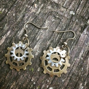 Antiqued Industrial Neo-Victorian Repurposed Handmade Ooak Machinery Brass and Silver Gears Earrings