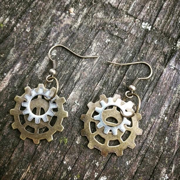 Antiqued Industrial Neo-Victorian Repurposed Handmade Ooak Machinery Brass and Silver Gears Earrings