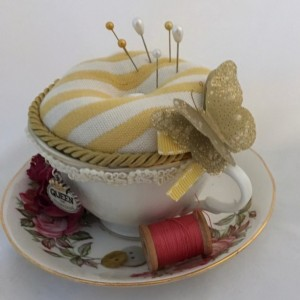 Vintage Tea Cup Pin Cushion- Queen of Everything