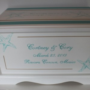 Destination Beach Wedding Keepsake Chest Starfish Box personalized wedding gift