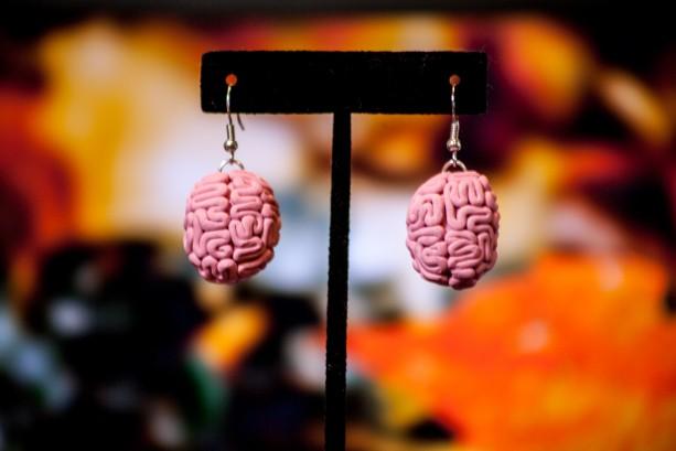Pink Brain dangle earrings