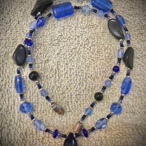 Simplicity in Blue handmade beaded necklace