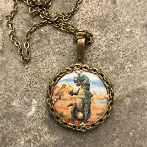 Tyrannosaurus Rex Round Vintage Pendant Necklace, Steampunk, Repurposed, For Children Or Adult Dinosaur Fans!