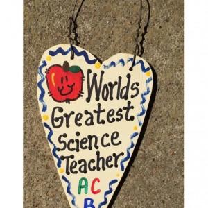 Teacher Gifts Worlds Greatest  Science Teacher  Long Heart  w/Apple School Positions