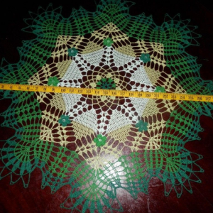 "Stunning Real Handmade Crochet Doily, GREEN, Round, 30"", ""Daisy Meadow"", Cotton100%, USA FREE shipping"