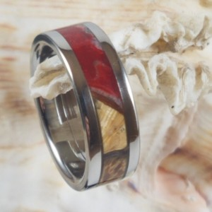 Size 5 Stainless steel ring, maple burl, red resin accent, 6mm band width